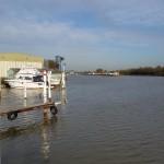 Blick auf die Schleuse vom Yachthafen MYC Münster